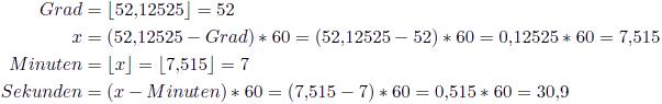 Umrechnung von 52,12525° in Grad, Minute und Sekunde